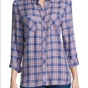 Joie Soft Lilya Plaid Button-Down Shirt size Small